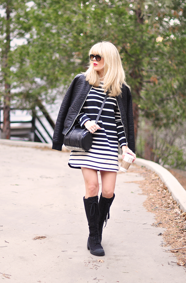 Leather bomber_combat boots_alexander wang bag_striped dress_red lips 1