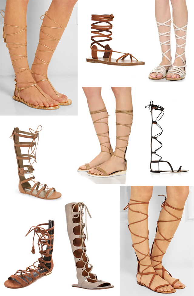 Leather lace up gladiator sandals