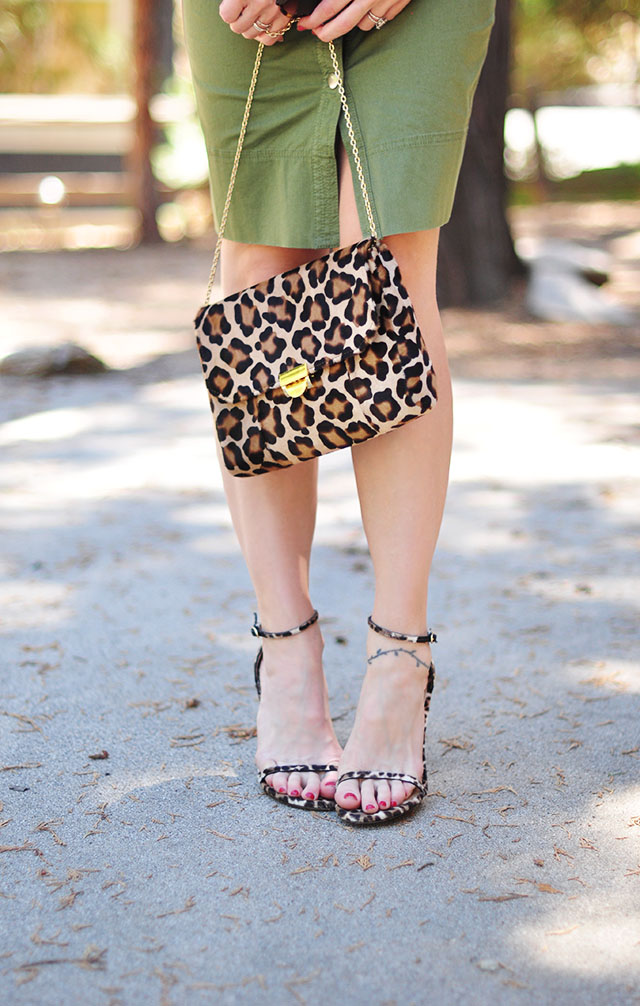 Leopard bag and shoes_army green dress