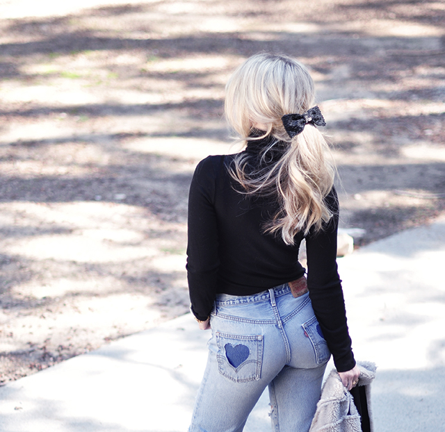 Levis 501s_ Heart Pockets on the butt_Low pony with bow-best butt jeans,