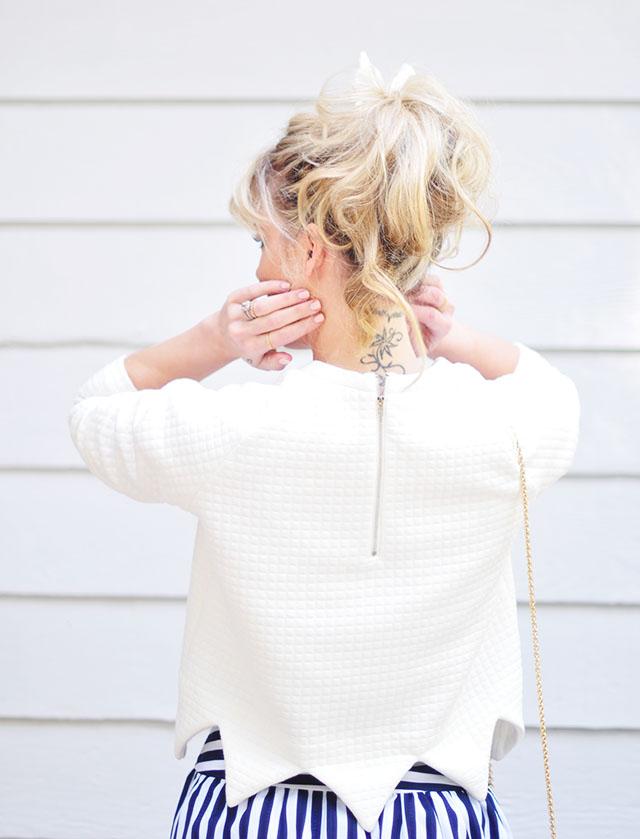 Messy ponytail_neck tattoo