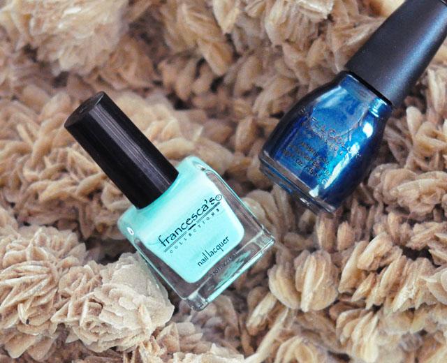 Mint and teal nail polish
