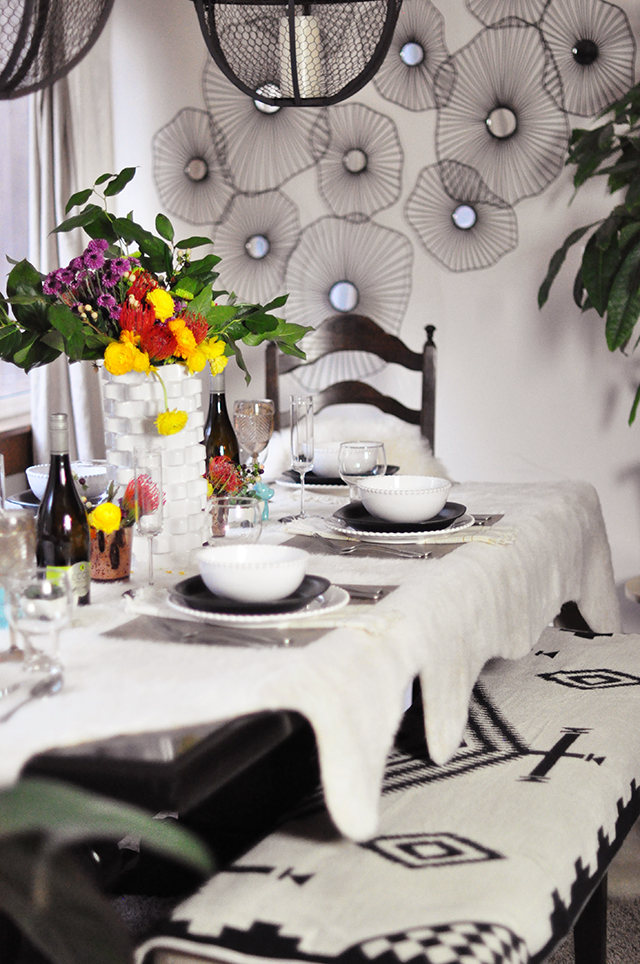 Mixed textures tablescape _ Black and Ivory