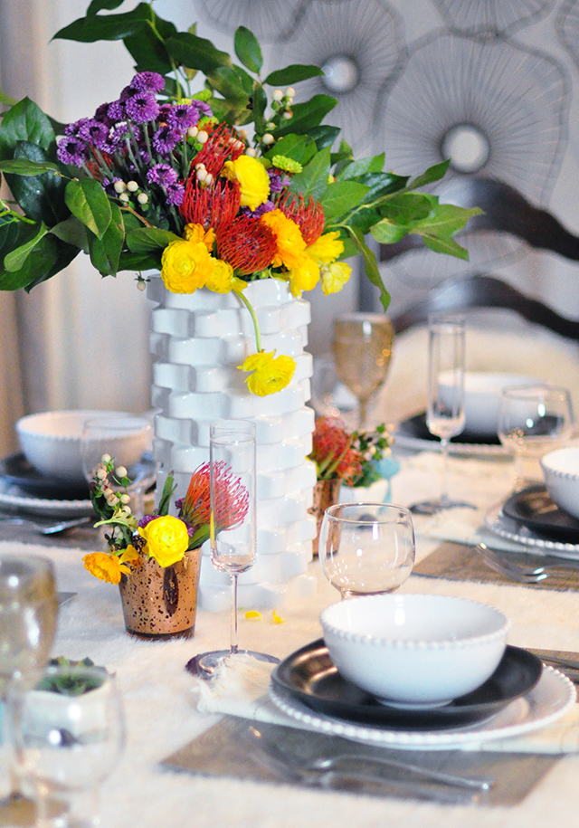 Mixed textures tablescape_Wildflowers