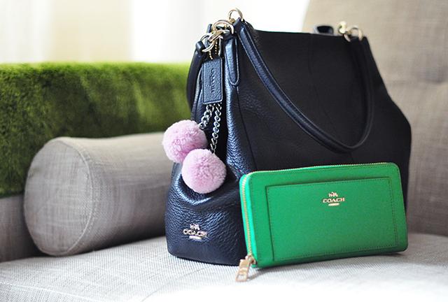 Navy Coach bag_green wallet