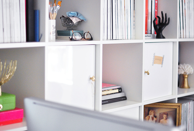 Office shelves+Desk_Expedit_Gold Nugget Door Pulls_Knobs