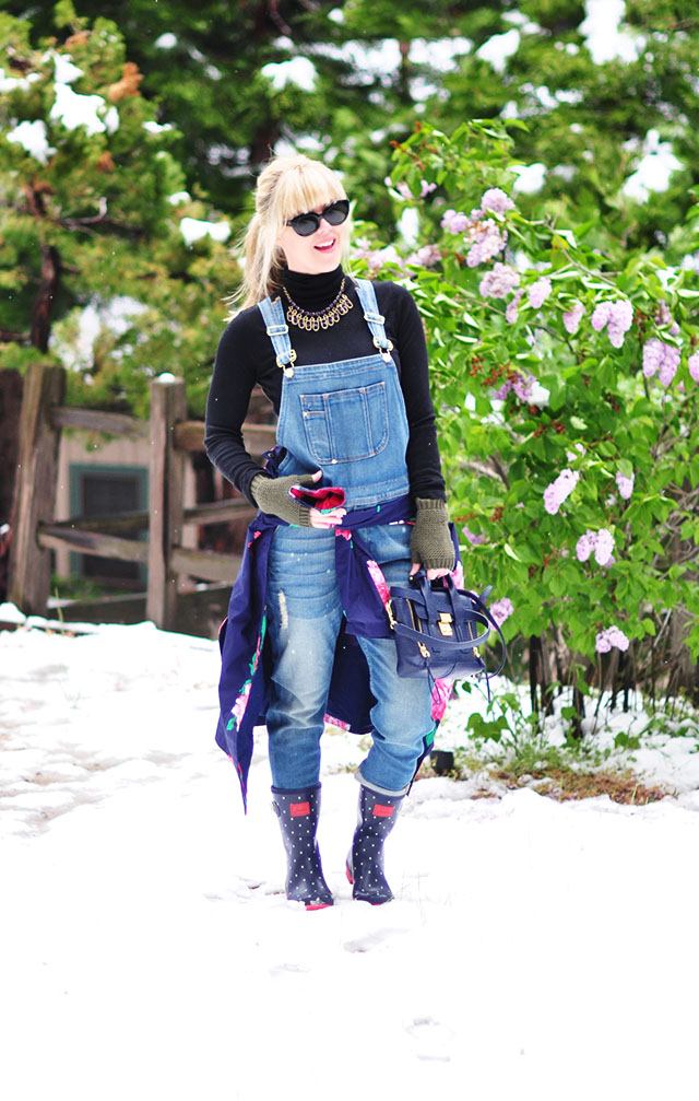 Overalls and polka dot boots in the snow