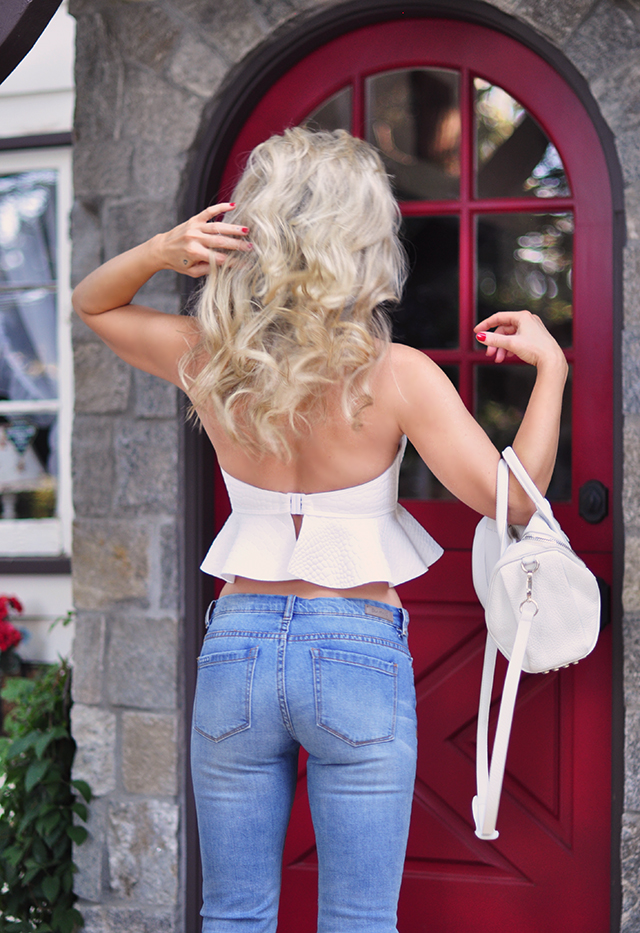 Peplum top and jeans_blonde waves