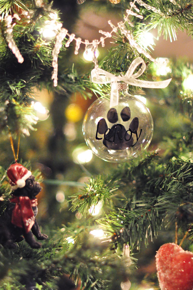 Pet Paw Print glass ornament
