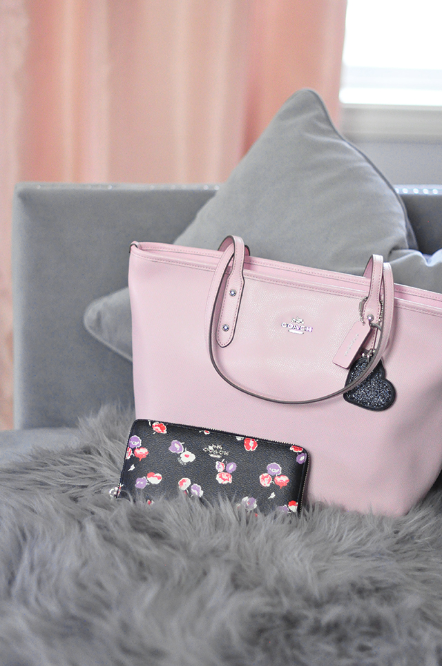 Pink Coach Tote Bag_Black Floral Wallet_Heart Keychain