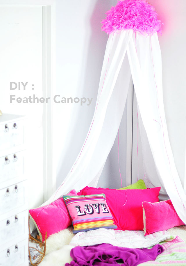 Pink Feather Bed Canopy for Girls  DIY