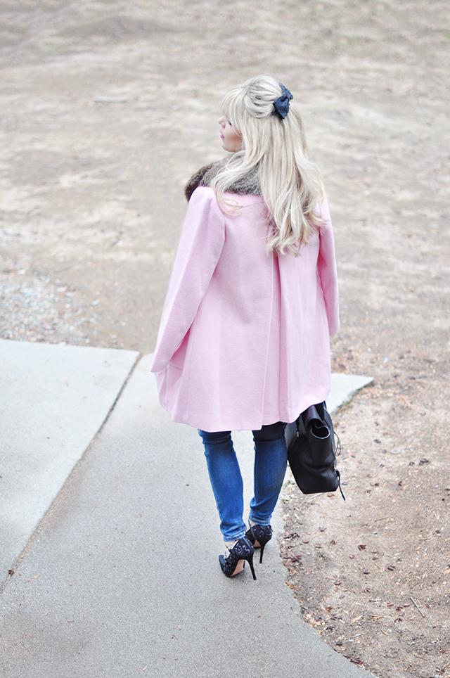 Pink coat_Jeans_black heels