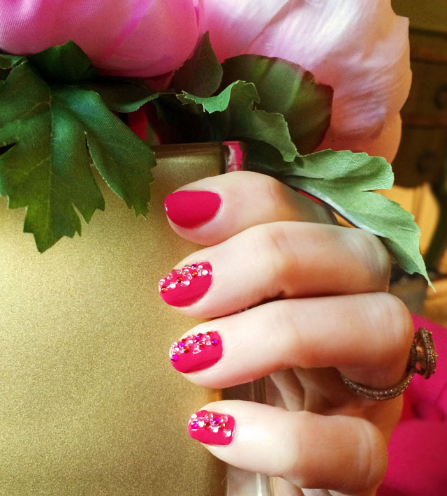 Pink sparkle valentine's day nails-5