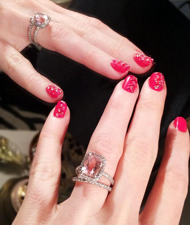 Pink sparkle valentine's day nails-6