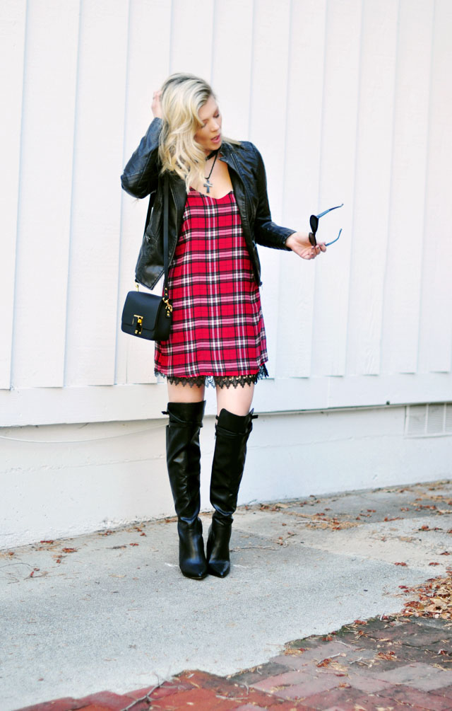 Plaid dress with lace trim - moto jacket- boots