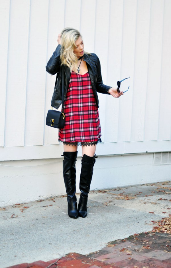 Plaid dress with lace trim - moto jacket-boots
