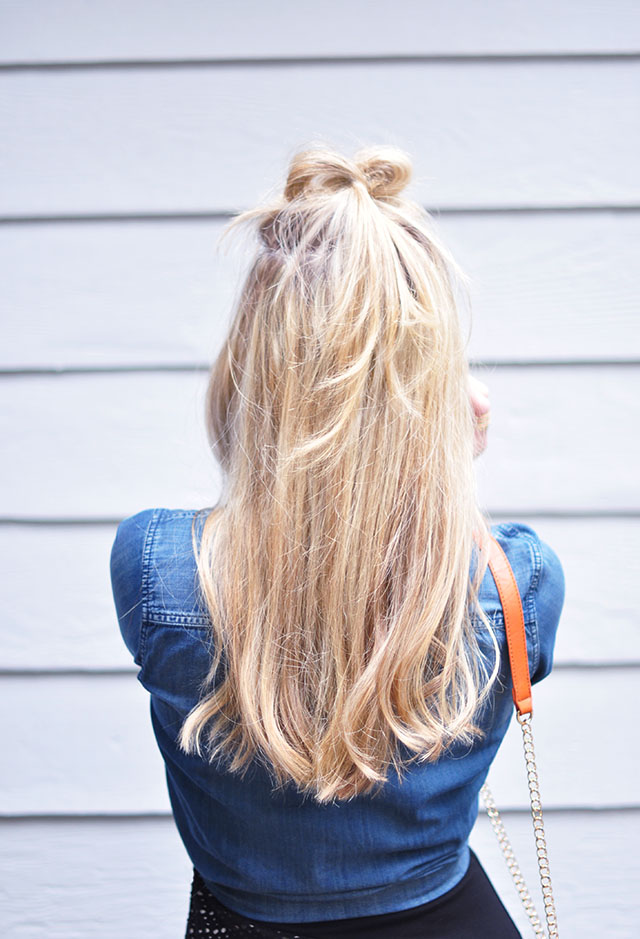 Pretty half-up hair style _bow top knot