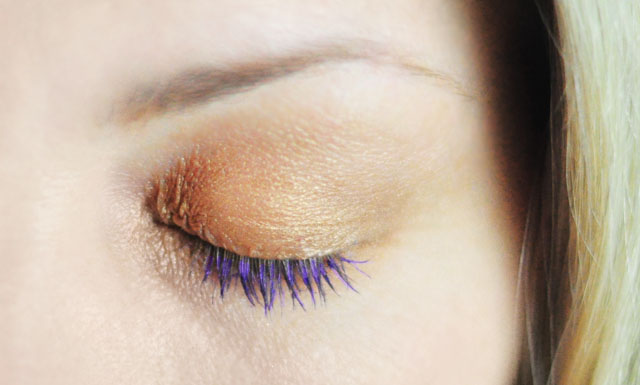 Purple Mascara + Gold Shimmer eye shadow