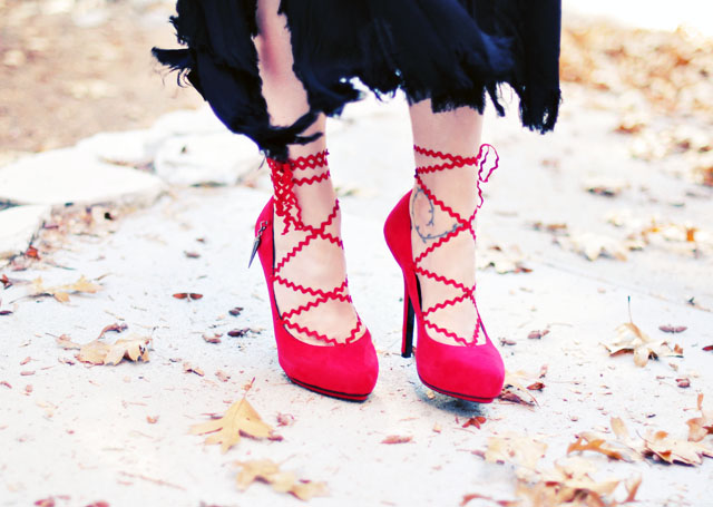 Red Lace Up pumps