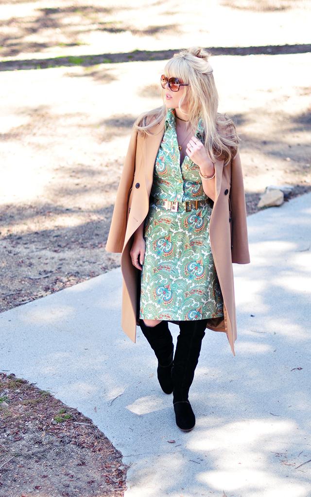 Retro modern _green paisley dress_camel coat