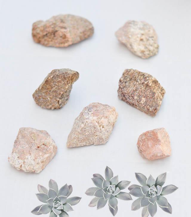 Rocks with Succulents-DIY rock crystals