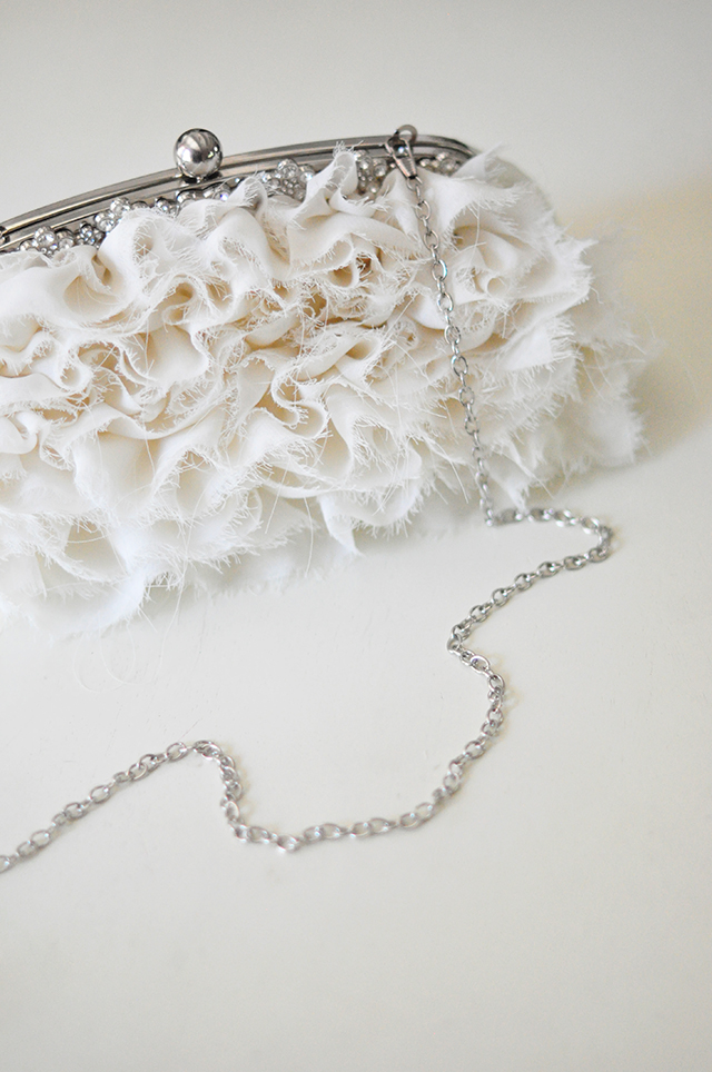 Ruffled romantic ivory wedding clutch bag -1