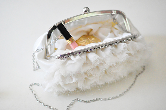 Ruffled romantic ivory wedding clutch bag -2