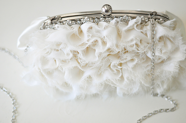 Ruffled romantic ivory wedding clutch bag -8