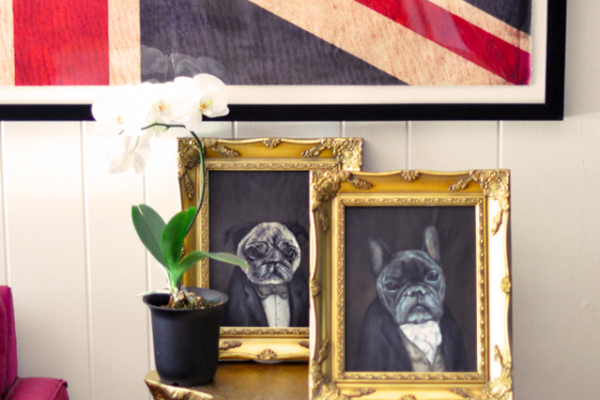 Custom Victorian Pet Portraits in Gold Frames by Luke Jervis