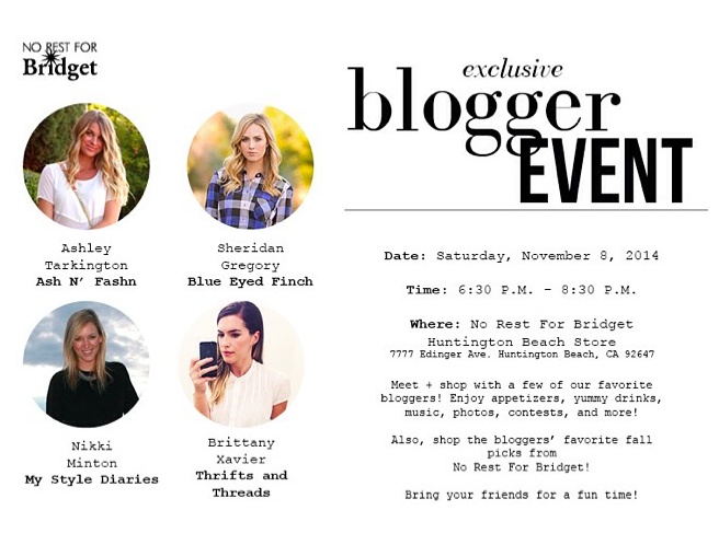 No Rest for Bridget blogger event
