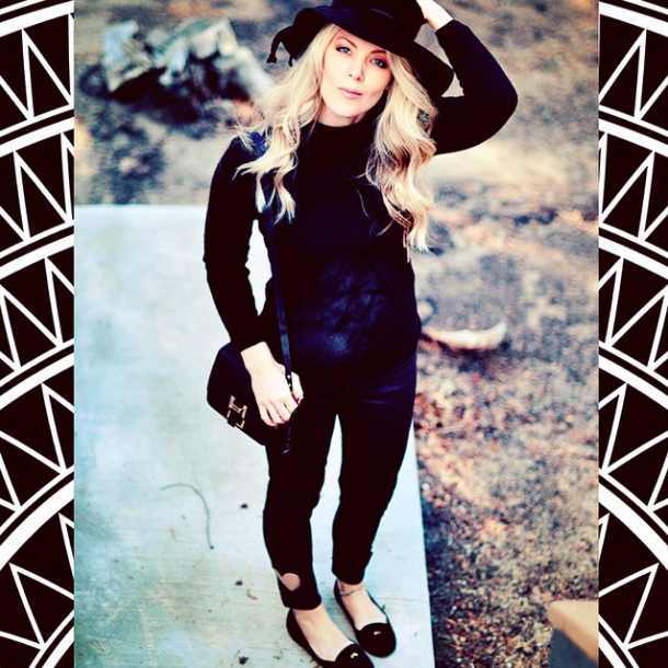 Black on black outfit-60s modern