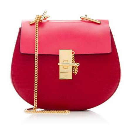 chloe red mini drew bag