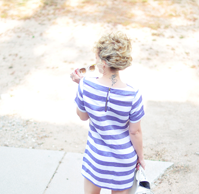 blue and white striped shift dress