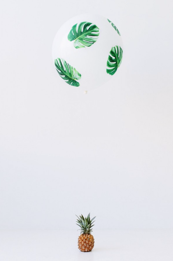 DIY Decoupage Balloons~ Palm fronds and pineapple