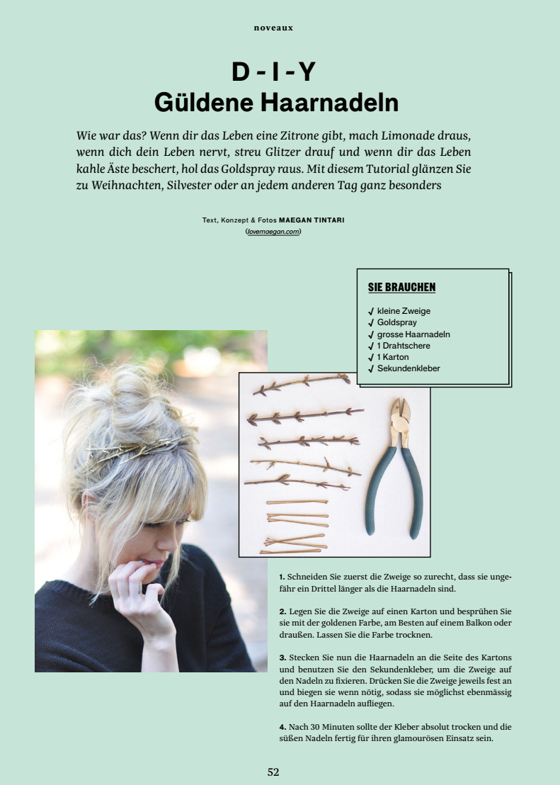 Noveaux Magazine Featuring DIY Gold Branch Hair Pins