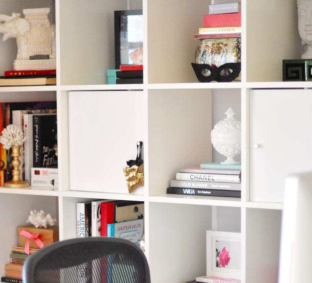 Ikea Expedit Shelving unit desk + accessories