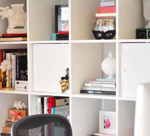 Ikea Expedit Shelving unit desk + accessories