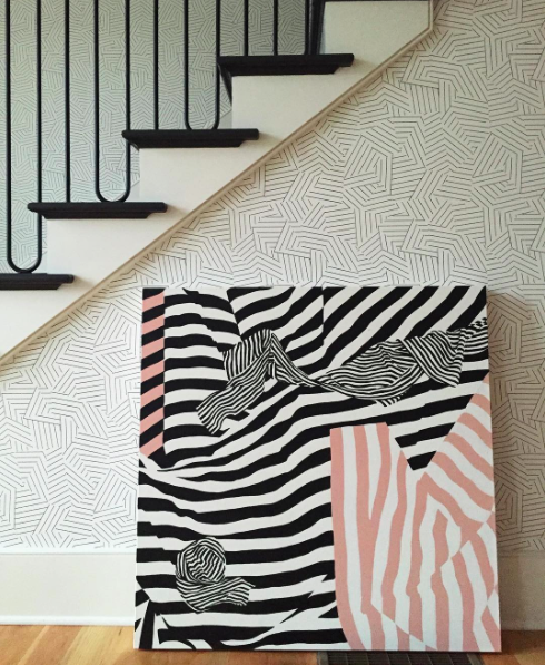 graphic artwork _ pink and black stripes - 80s wallpaper