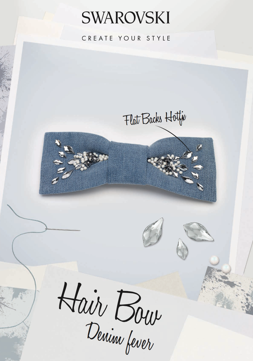 DIY retro denim hair bow with Swarovski crystals