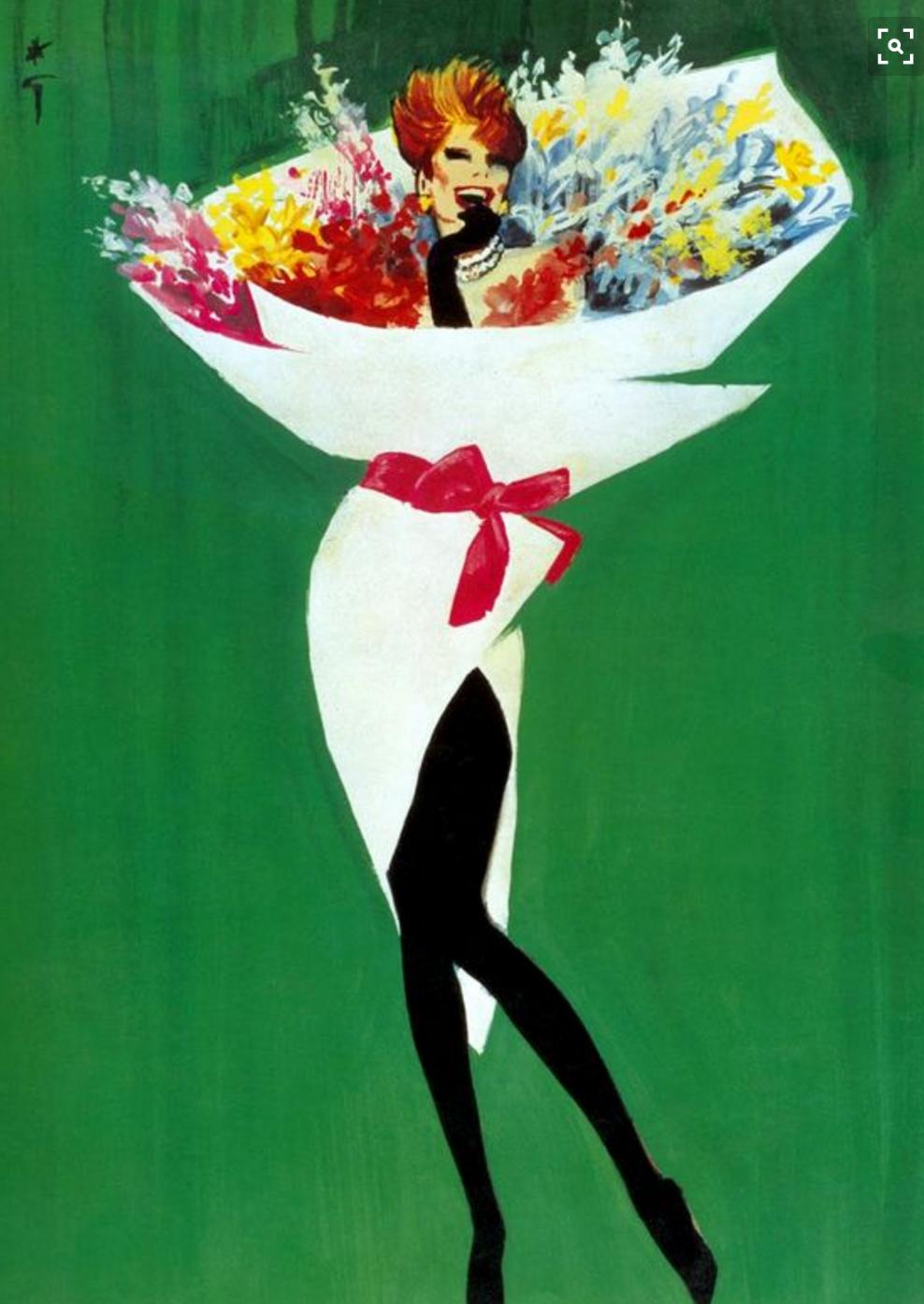 Rene Grau woman as bouquet illustration