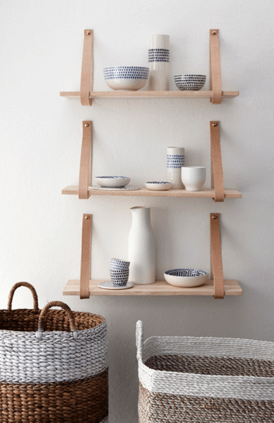 Hanging Wall Shelves with Leather Straps