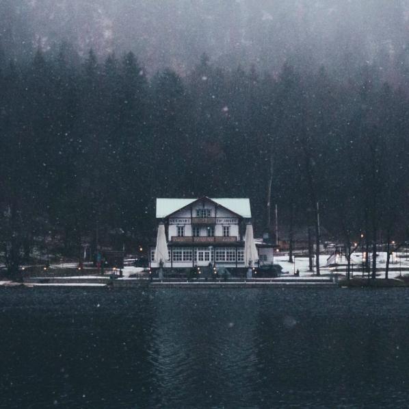 snow on the lake