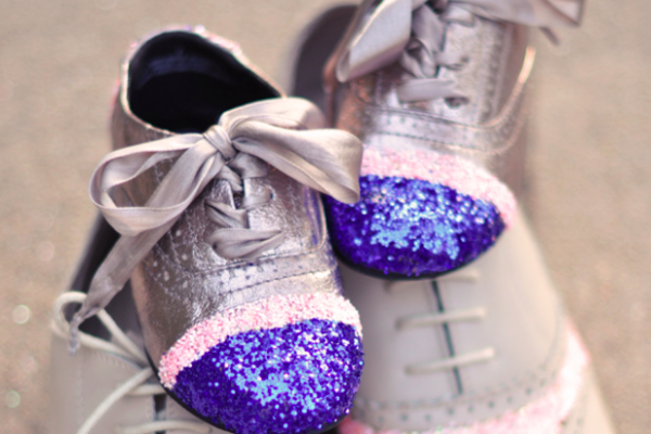 DIY Glitter Cap Toe Shoes for kids