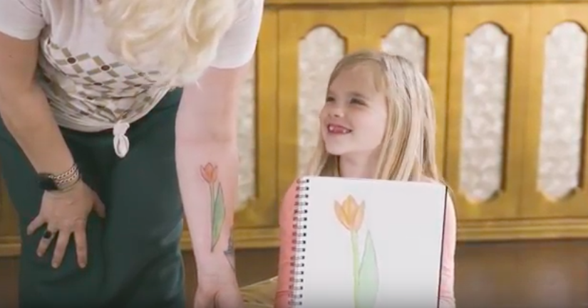 7 year old Daughter designs and tattoos mom