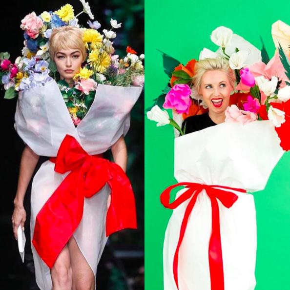Jeremy Scott for Moschino Gigi Hadid flower bouquet halloween costume