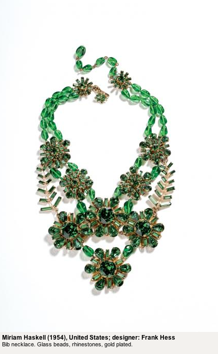 Miriam Haskell green flower bib necklace 1954