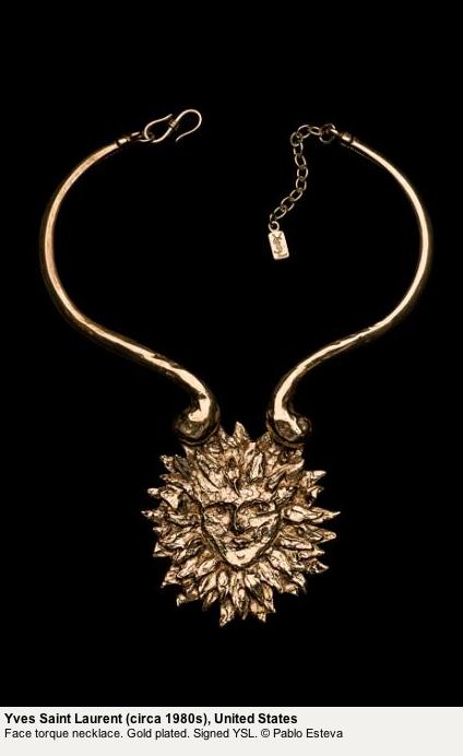 Yves Saint Laurent 80s gold Face Torque Necklace