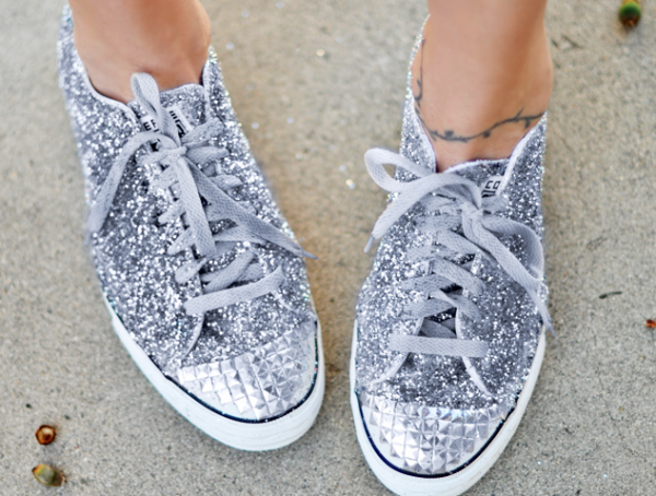 Shoe DIYS | Glitter Sneakers With Studded Toe Cap