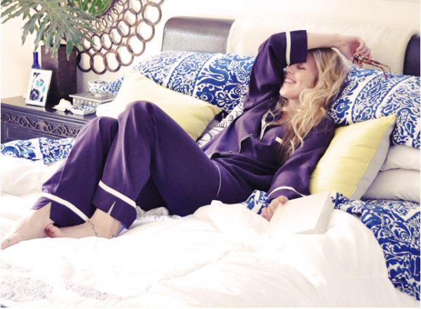 silk pajamas - tropical master bedroom