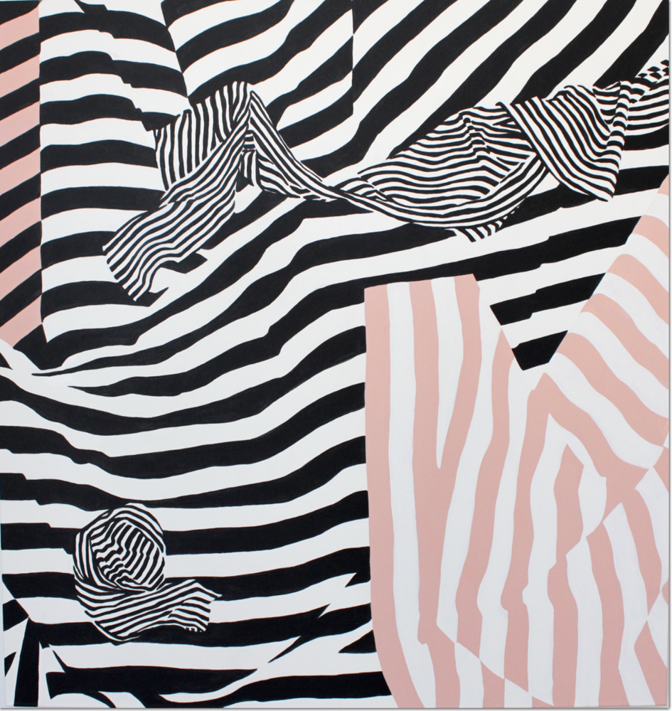 graphic artwork _ pink and black stripes